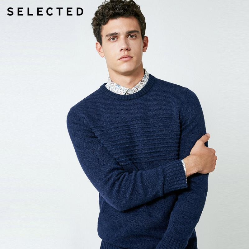 SELECTED Men's Autumn Wool-blend Round Neckline Sweater Knitted Pullover Clothes C | 418325501