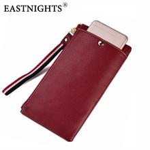 EASTNIGHTS Genuine Leather Wallet Phone Case Zipper Long Card Holder Women Wrist Slim Cow Clutch Wallets