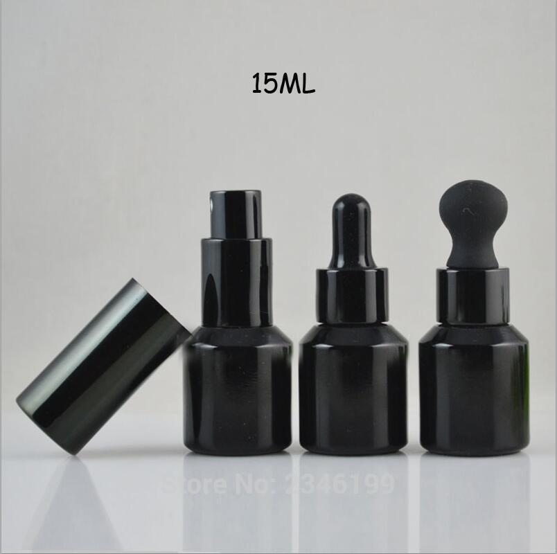 15ML Black Glass Lotion Botle Empty DIY Spray Refillable Bottle High Class Essential Oil Container Dropper