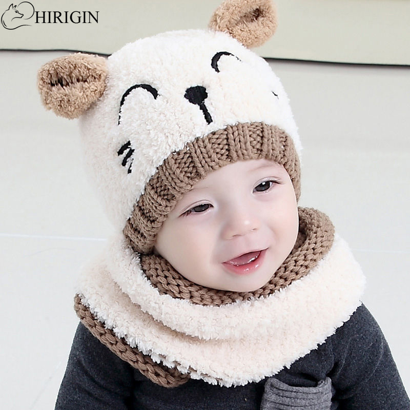 Kids Girls Hat with Scarf Tie Up Baby Hat Winter Set with Scarf Warm Real Fur
