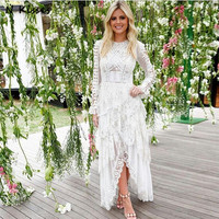 2018 New Fashion Lace Embroidery Dress Patchwork Asymmetric Party Dress Vocation Dress Solid White Black