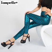 wholelsales Summer style women's Scale leggings 7 colors to choise Simulation mermaid sexy pants Digital print colorful leggings(China)