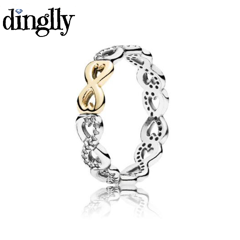 DINGLLY Fashion Gold Silver Two-tone Infinite Love Crystal Brands Ring For Women Engagement Wedding Party Ring Jewelry Gifts monochrome