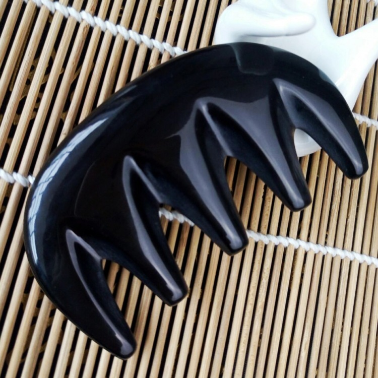 Black water horns five teeth massage comb head meridian scraping comb health wide teeth curly hair comb 6pcs black full teeth plain metal comb hair headbands with 80 piece 37mm high teeth bargain for bulk