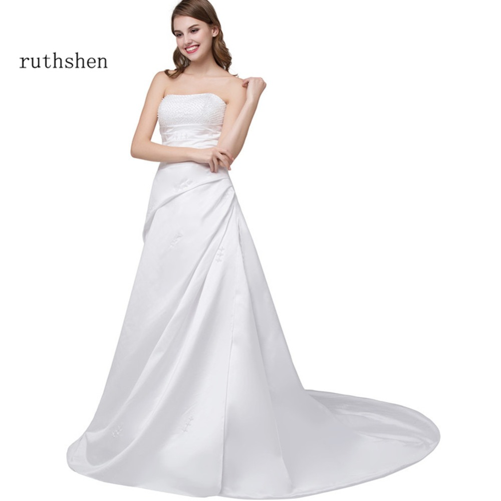 ruthshen Cheap Wedding Dresses Strapless Beaded Pleats Sweep Train Bridal Gowns In Stock Vestidos De Noiva