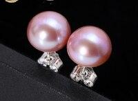 Real AAA Pearl Earrings 10mm White Pink Purple Near Round Freshwater Pearl Stud Earrings for Women Gift