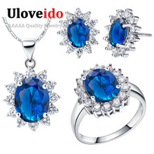 Uloveido Sapphire Marriage ceremony Bridal Jewellery Units 925 Sterling Silver Flower Necklace Earrings Ring Low cost Costume Girls Set T466