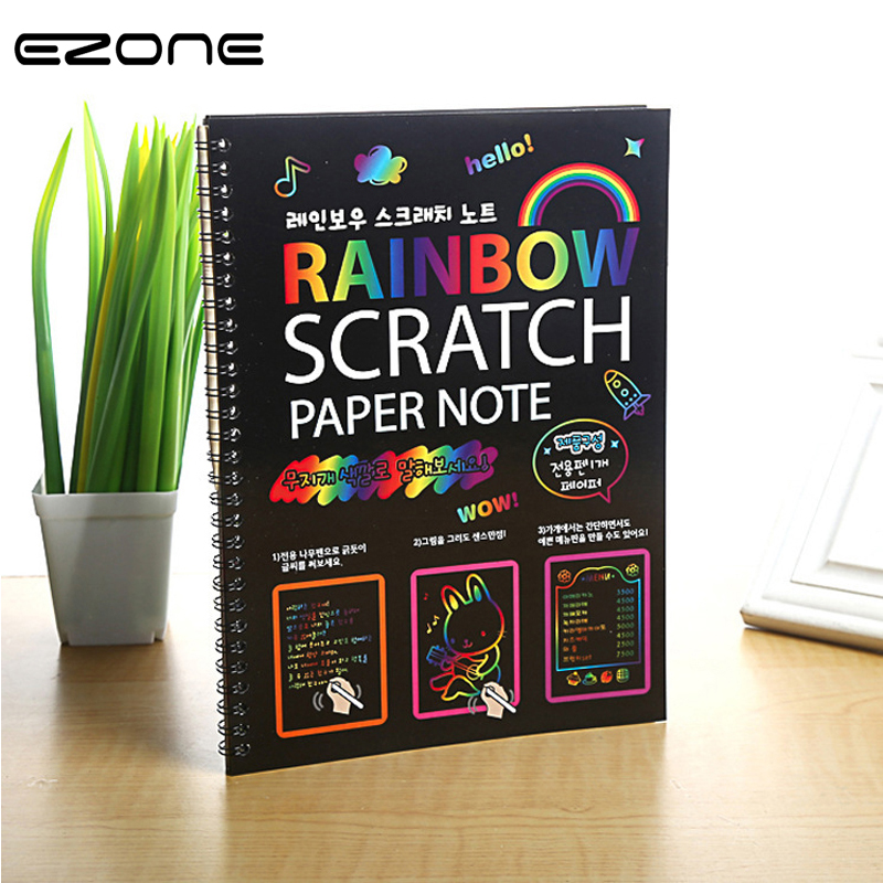 EZONE Scratch Notebook Coil Graffiti Note Book Black Page Cute Magic DIY Drawing Book Painting Notepad For Kids Stationery Gift