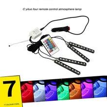 7 цветов Светодиодные ленты фонари салона модификации светодиодный мерцающий декоративные огни ноги лампа Цвет ful голос ритм музыки свет 4 шт.