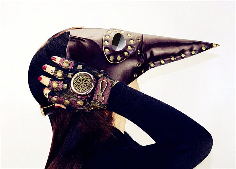 Nouveau cuir synthétique polyuréthane marron Rivet unisexe rétro Steampunk peste médecin masque gothique Long oiseau bec masque Armlet Bracelet Cosplay accessoires