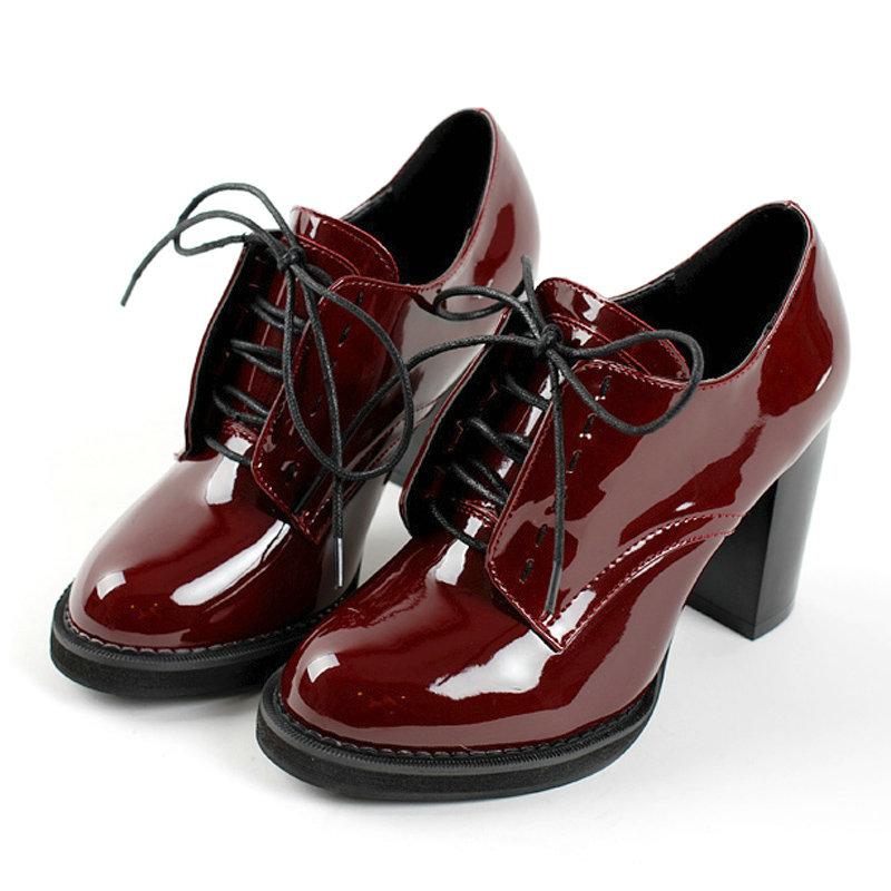 Size 34 43 Burgundy Square High Heel Platform Ladies Summer Shoes PU Patent leather Woman Pump