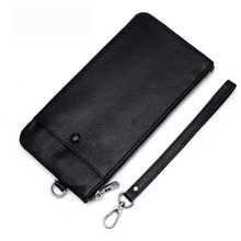 High Quality Genuine leather Long Purse Men Cowhide Leather Wallets Zipper Coin Pocket Bag For Men Card Holder Purse new arrival high quality leather wallet oil wax cowhide billfold women s genuine leather purse long zipper wallets coin pocket