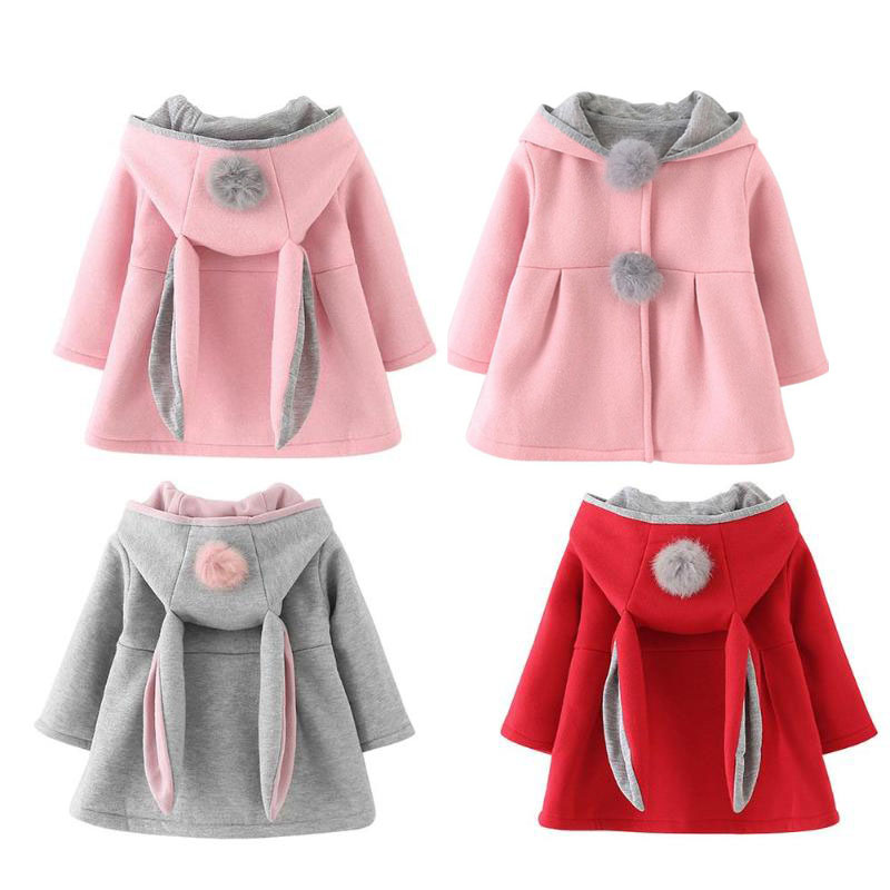 Winter Spring Baby Girls Long Sleeve Coat Jacket Rabbit Ear Hoodie Casual Outerwear Autumn Winter Baby Outwear Infants Christmas