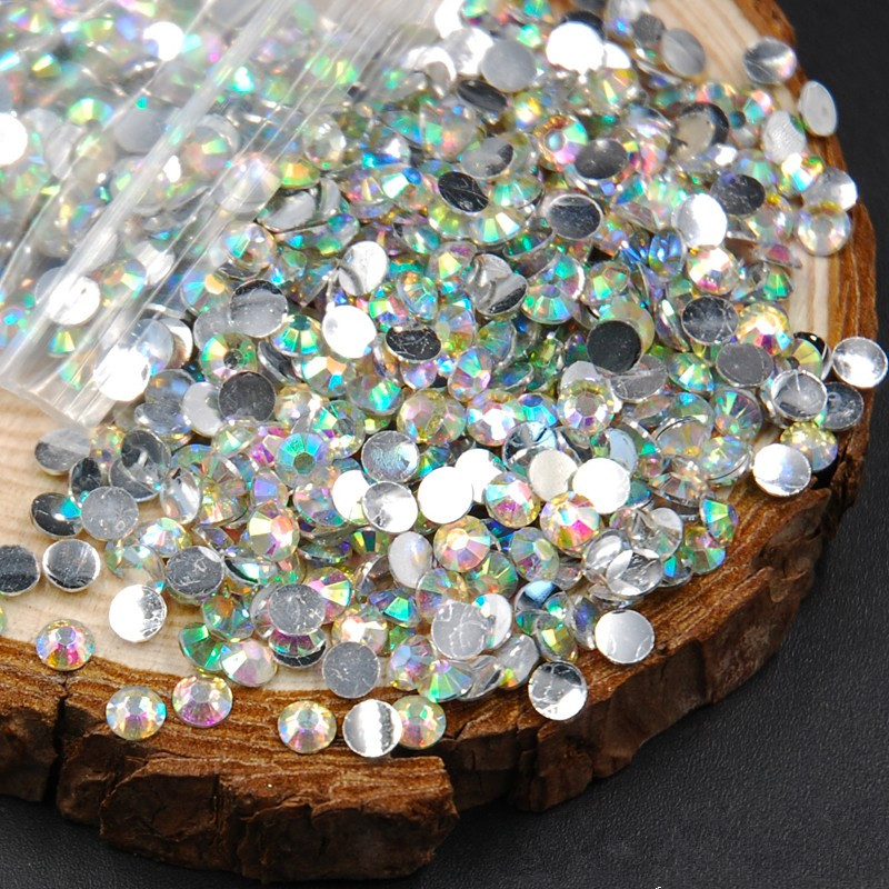 Super Shiny 2mm 5000pcs/Bag Clear Crystal AB color 3D Non HotFix FlatBack Acrylic Nail Art Flatback Rhinestones DIY Glitter Gems super shiny 1440pcs ss16 3 8 4mm clear ab glitter non hotfix crystal ab color 3d nail art decorations flatback rhinestones 16ss