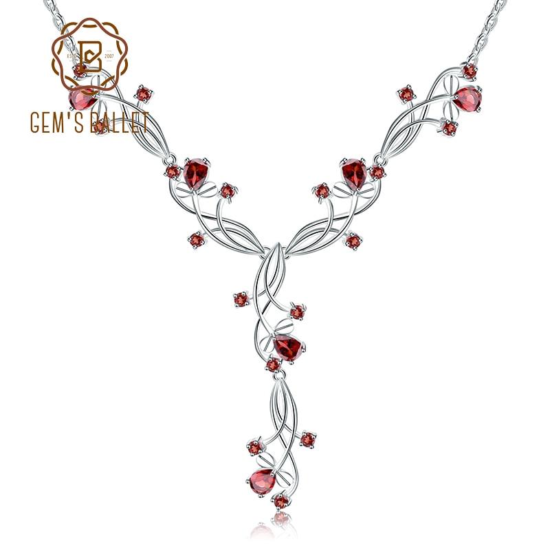 GEM S BALLET 8 08ct Natural Red Garnet Bridal Necklace For Women 925 Sterling Silver Gemstone