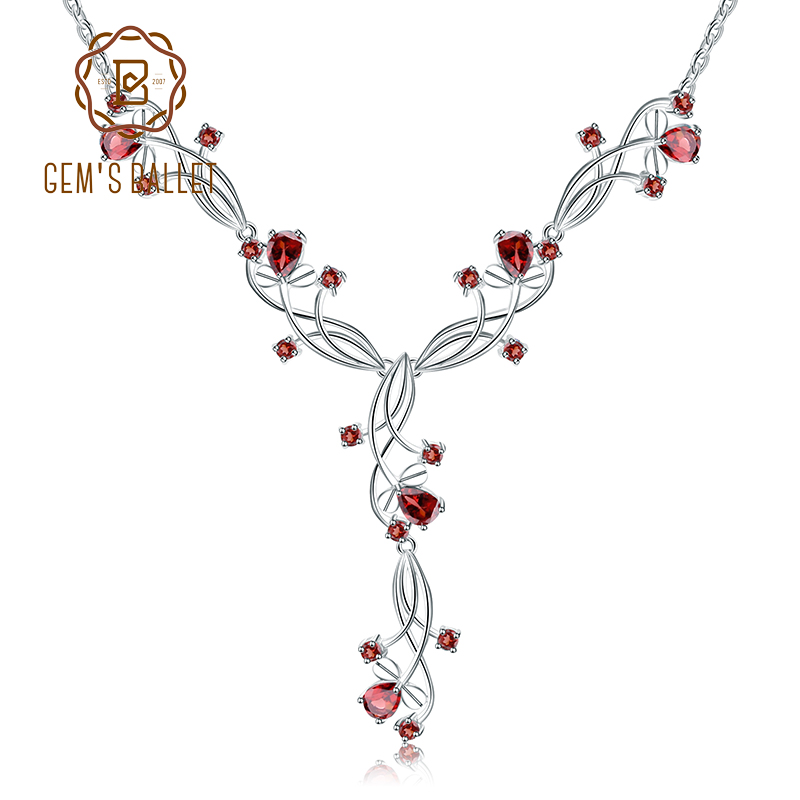 Collar nupcial rojo granate Natural de BALLET de GEM'S 8.08ct para mujer 925 collar de piedras preciosas de plata de ley joyería de boda-in Collares from Joyería y accesorios    1