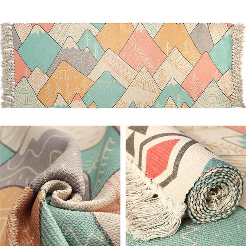 Tapis de chevet en coton tissé tapis salle de bain salon tapis géométrique fait main indien tapis bohème moderne impression tapis - 6