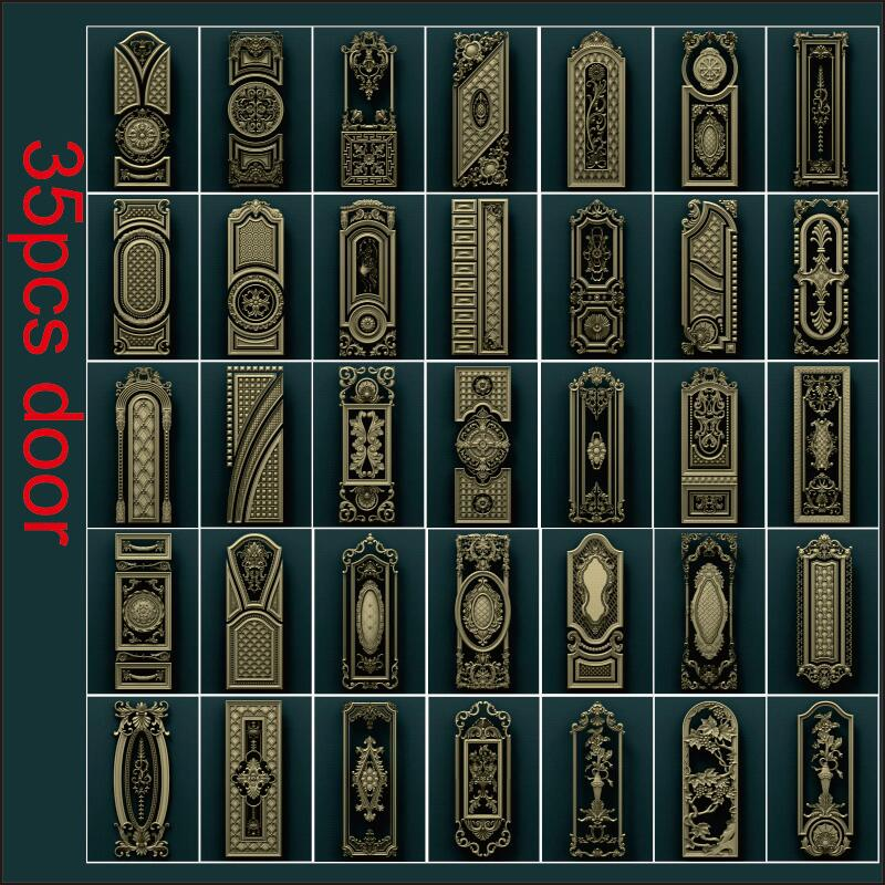 35 Pcs Door Pads 3d Model STL Relief For Cnc STL Format Balusters Relief Model STL Router  Engraver ArtCam
