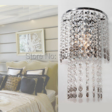Modern crystal wall lamp bedroom crystal wall lamp corridor wall lamp Contains LED bulb free shipping 2016 new modern fashion free shipping multi color acrylic sunflower led wall lamp for bedroom hallway corridor
