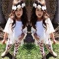 Verano niños chicas ropa niños que arropan el sistema trajes de niño del bebé bata blanca + chaleco sin mangas + pantalones estampados florales DY112A