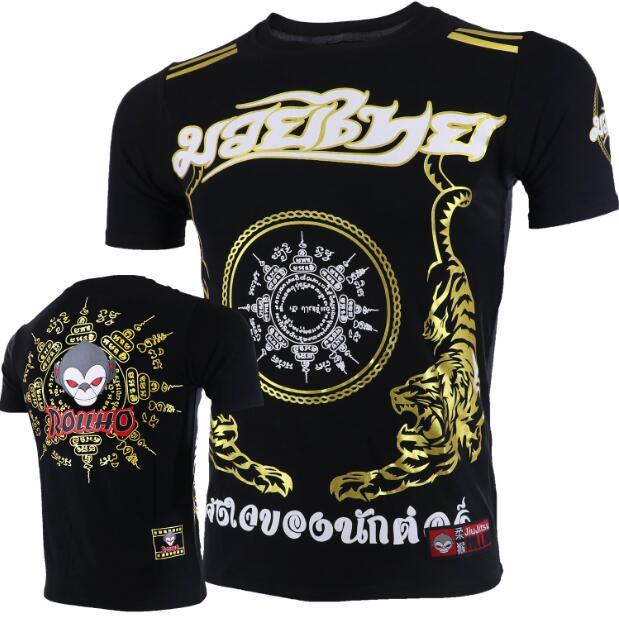 Soft Monkey ROLLHO Fighting Muay Thai Tiger Short-sleeved T-shirt MMA Sanda  Martial Arts Kung Fu Seek Male Boxing