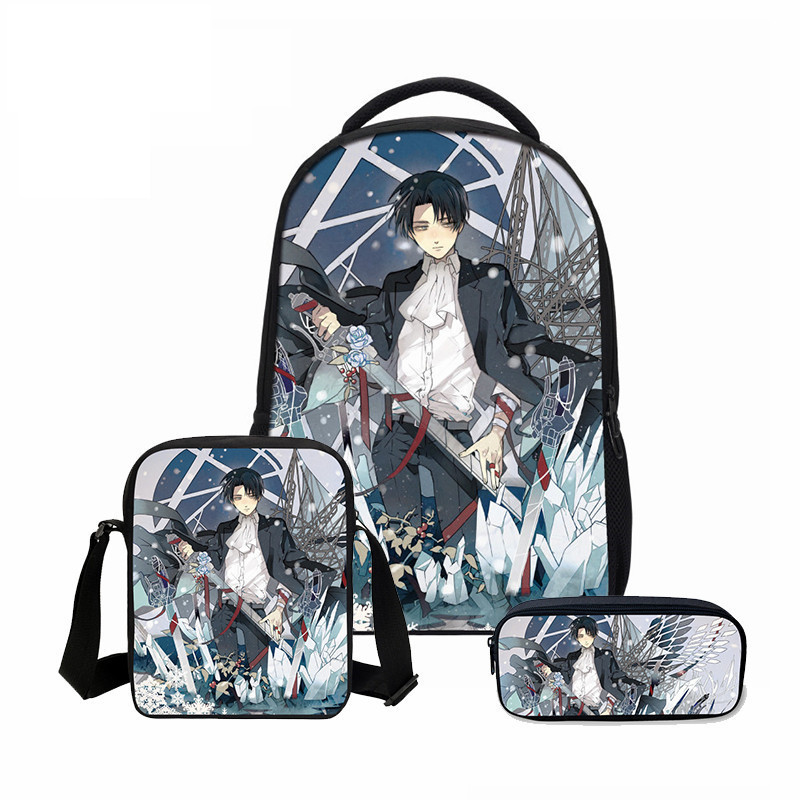 VEEVANV Attack on Titan Printing Backpacks Fashion 3PCS SET Combination BagsTeenager School Bookbag Cartoon Mochila Shoulder