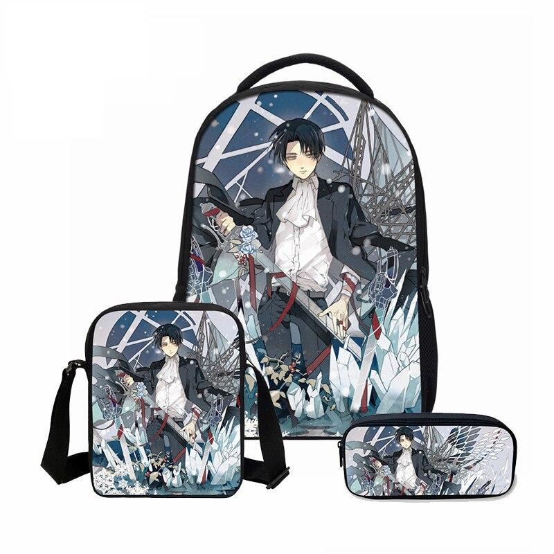 Veevanv Attack On Titan Printing Backpacks Fashion 3pcs/set Combination Bagsteenager School Bookbag Cartoon Mochila Shoulder Bag