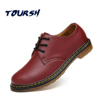 TOURSH Brand Genuine Leather Women Shoes Brogue Black Brown Solid Red Lace Up Platform Ankle Female