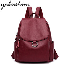 Fashion Female Backpack Leather Large Bags for Women Designer Brand High Quality Vintage Backpacks Teenage Girls