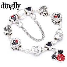 DINGLLY мультфильм Микки Шарм браслет для женщин девочек мальчиков DIY Микки бусины бренды браслет и браслет ювелирные подарки для друзей
