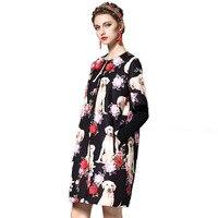 2017 Winte Three Dimensional Flowers Pet Dogs Printed Thin Woolen Coat Women S Coat 171027LU05