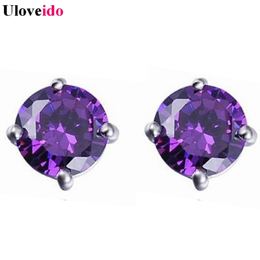 Uloveido Stud Earrings Silver Plated Earring with Stones Ornamentation Rhinestone Gifts for Women Simulated Diamond Jewelry R281