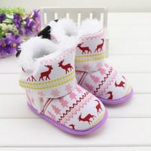 Отличный плюшевый теплый зимний детский Первый ходунки для малышей ручной работы; флисовые рождественские ботиночки; детские зимние ботинки; обувь для мальчиков и девочек