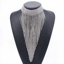 Богемные длинные кисточки, большое ожерелье, прозрачные кристаллы, стразы, цепочка, длинные подвески для женщин, этническое колье, ювелирное изделие