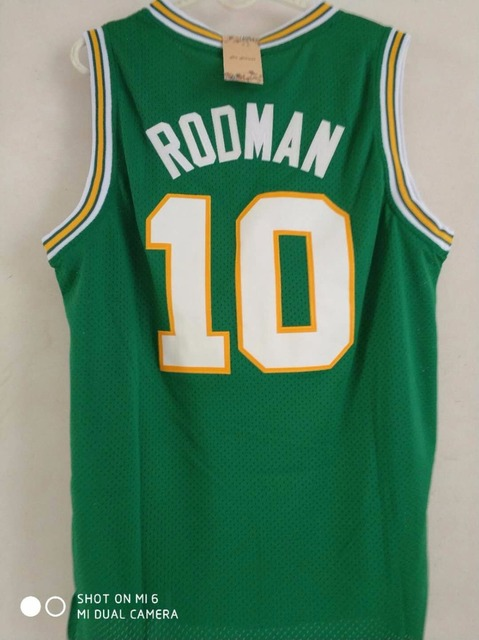wholesale dealer 9aa8d c49b7 do dower Dennis Rodman 10 OKLAHOMA SAVAGES White/Blue/Green Embroidery  Stitched College Basketball Jersey-in Basketball Jerseys from Sports & ...