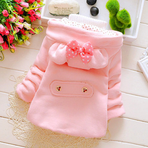 Image 4 - Winter Baby Parka dodatkowo pogrubiony aksamit dziewczynek odzież na śnieg niemowlę dziewczynki odzież wierzchnia płaszcz dwurzędowy łuk małe dziewczynki odzież