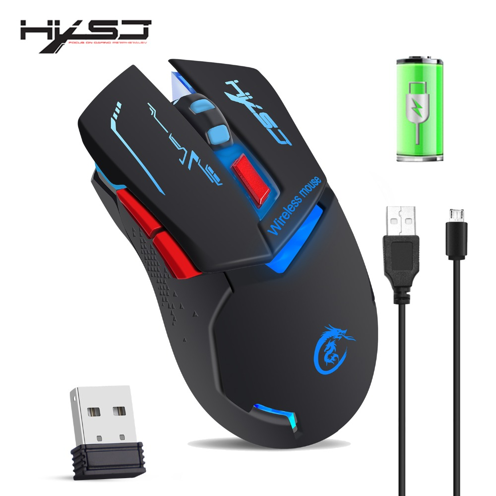 2400Dpi USB Wireless Rechargeable Mouse for PC//Laptop//Mac JAY-LONG Gaming Mouse with Colorful Lights// 2.4G High Precision Optical Mouse Black