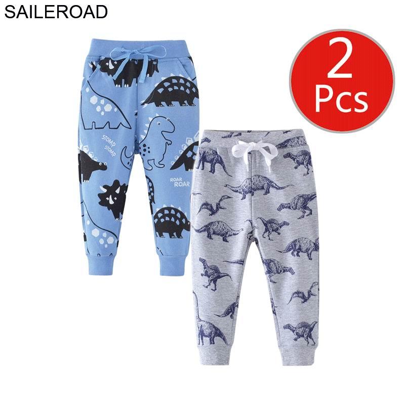 SAILEROAD 2pcs Cartoon Hug Me Dinosaur Pants Kids Boys Fall Clothes Children 7 Year Kids Sweatpants Warm Pants for Boy Trousers 1