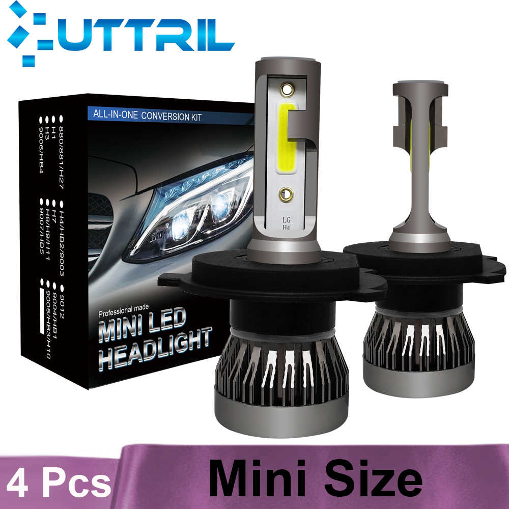 Uttril 4 Pcs COB Chips H4 H7 LED Car Headlight Bulbs H11 H8 H9 H1 9005 HB3 9006 Hi-Lo Beam 8000lm Led Headlight Kits 6000K 12V