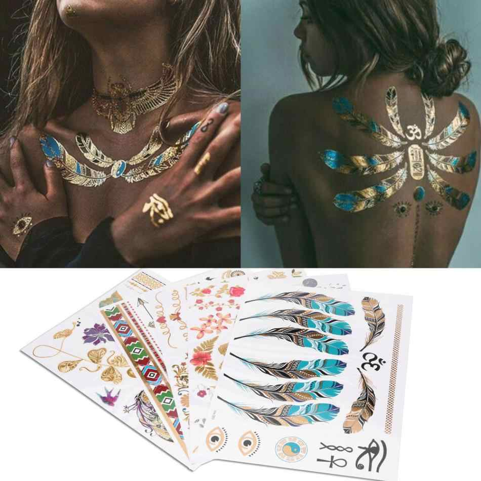 5pcs Mixed Metallic  Flash Tattoos Sticker Golden Silver Colorful Pattern Temporary Disposable Tattoo Body Art Stickers Decal