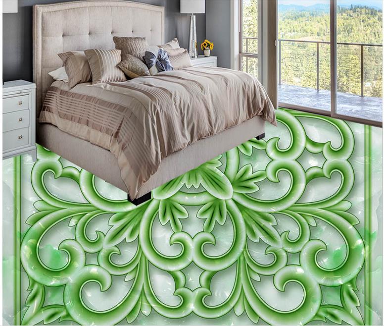 ФОТО 3d floor tiles  wallpaper custom waterproof floor Auspicious jade flower bedroom wallpaper 3d floor self adhesive wallpaper