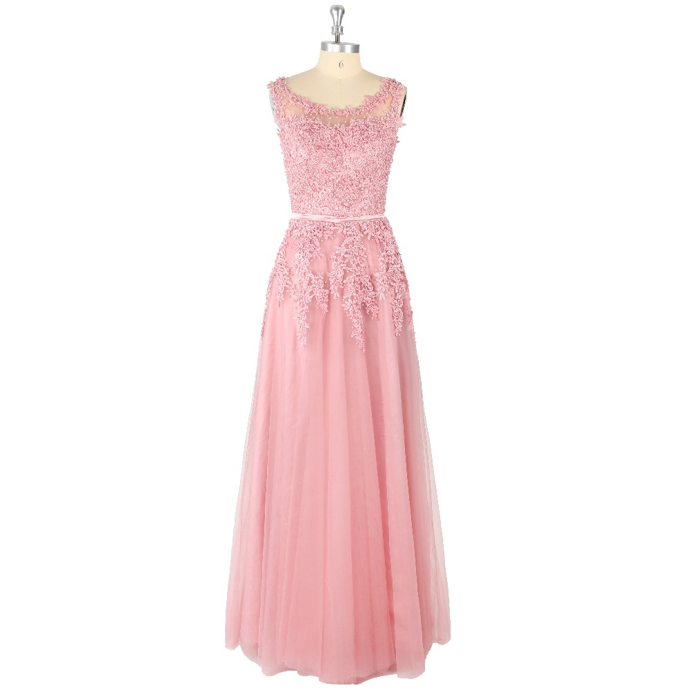 2017 Two Colors Sexy O-Neck Natural Waist Sleeveless Appliques Beading A-Line Floor-Length Tulle   Prom     Dress