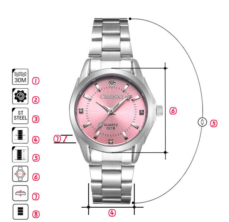 6 Fashion colors CHENXI CX021B Brand relogio Luxury Women's Casual watches waterproof watch women fashion Dress Rhinestone watch 13