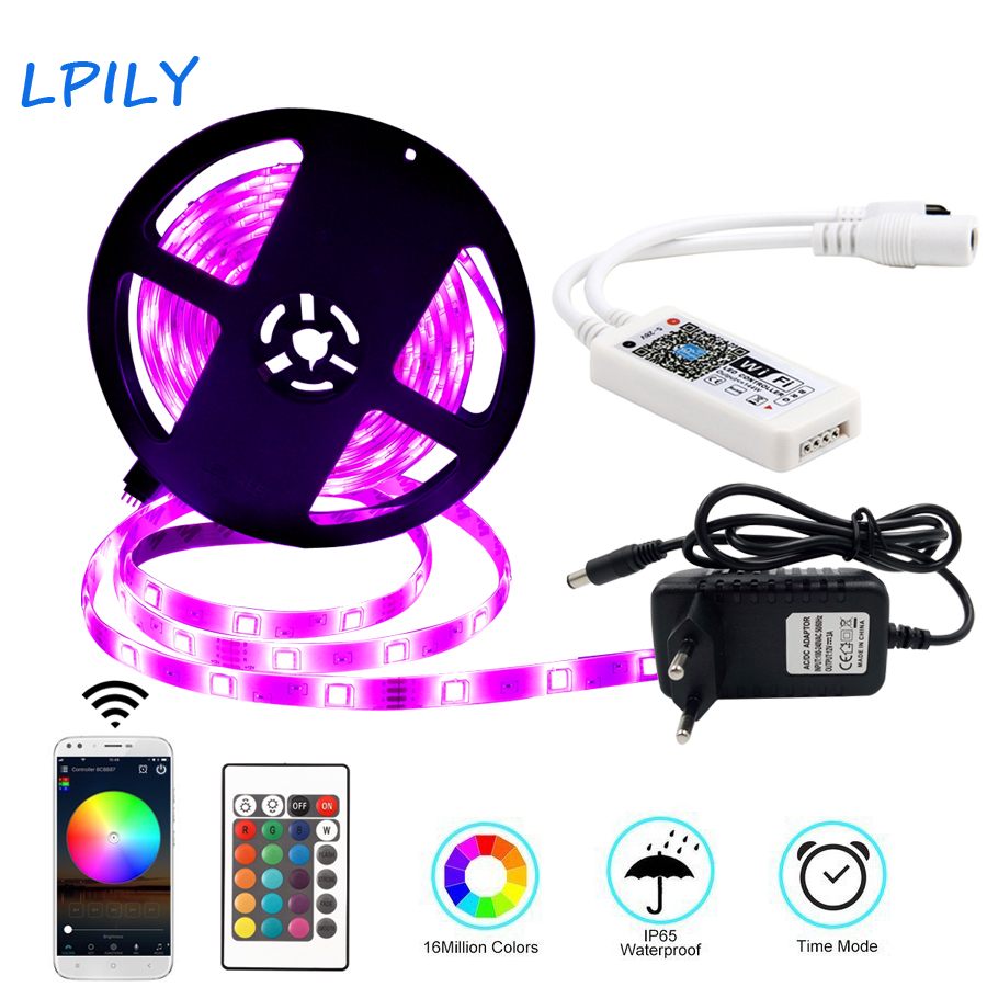RGB LED Strip Light 5m 5050 Non Waterproof Led Ribbon With WIFI Remote Controller 5050 Led RGB Diode Tape For Decoration 10m 5m 3528 5050 rgb led strip light non waterproof led light 10m flexible rgb diode led tape set remote control power adapter