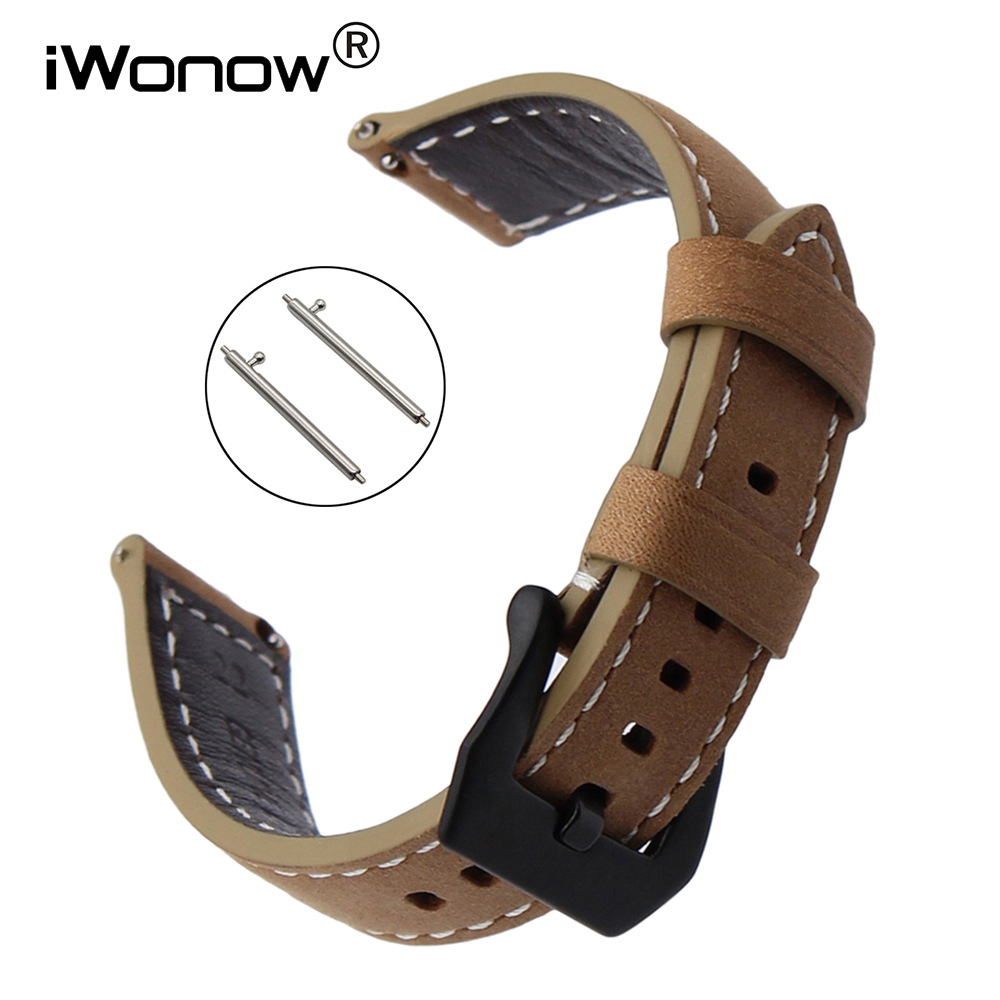 Italian Genuine Leather Watchband Quick Release for Xiaomi Huami Amazfit 2 / 2S Watch Band Stainless Steel Clasp Wrist Strap genuine leather watchband for suunto 3 fitness smart watch band quick release strap stainless steel clasp wrist bracelet