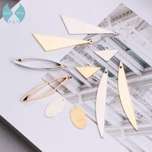 Copper DIY elliptical triangle horse eye Earrings ear clip Handmade ear pendant accessories materials