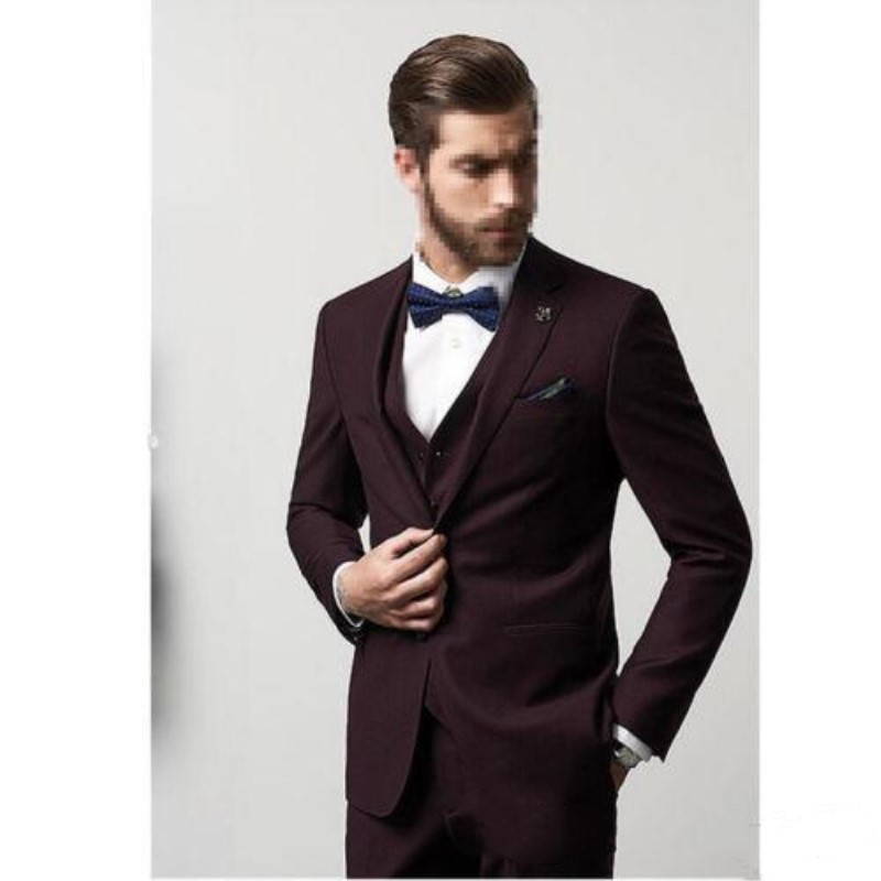 Handsome Groomsmen Wool blend Groom Tuxedos Mens Wedding Dress Man Jacket Blazer Prom Dinner (Jacket+Pants+Tie+Vest) A38