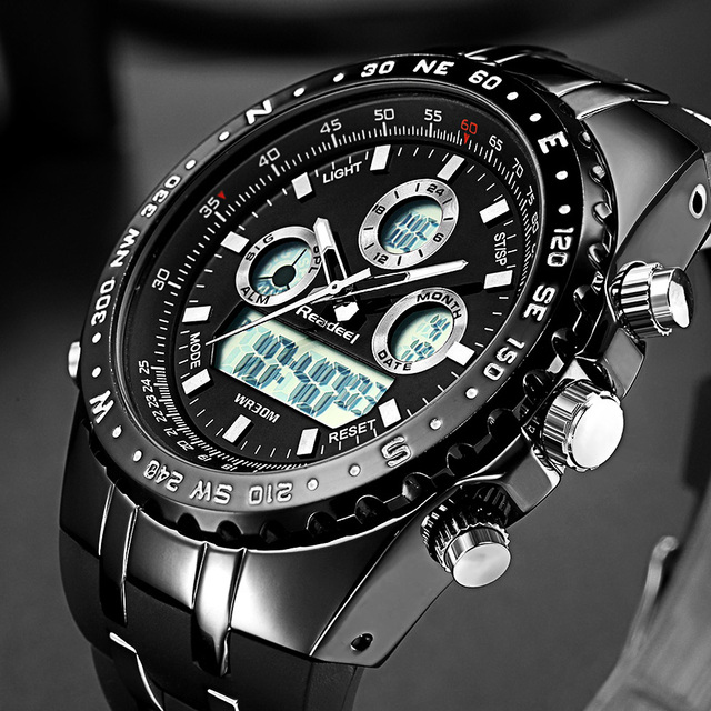 Waterproof digital wristwatch of men