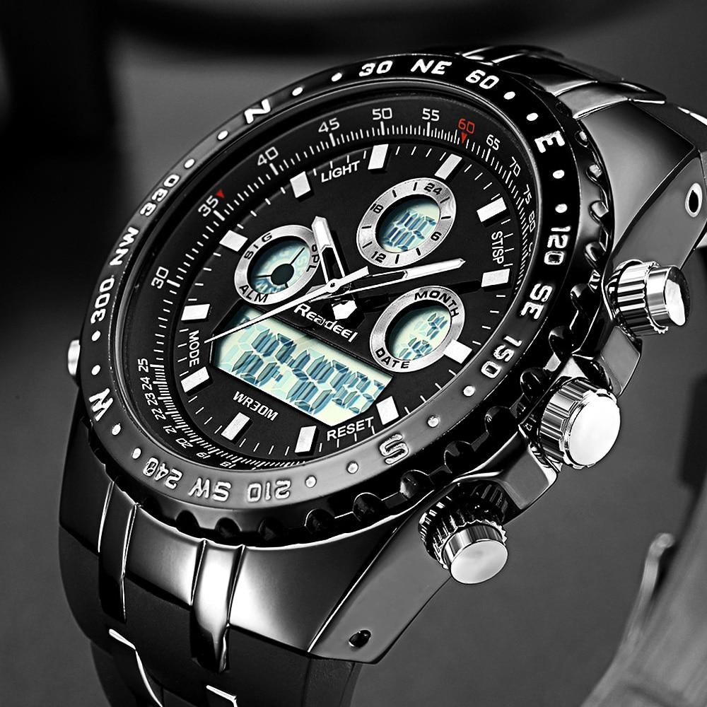 Купить на aliexpress Readeel Лидирующий бренд Спорт кварцевые наручные часы Для мужчин военные Водонепроницаемый часы светодио дный цифровые часы Для мужчин кварц...