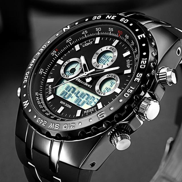 Readeel Esporte Marca de Topo de Quartzo Relógio de Pulso Homens Militar Relógios À Prova D' Água LED Digital Relógios Men Quartz Relógio de Pulso Relógio Masculino